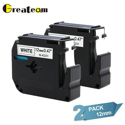 $5.59 • Buy 2 PK M-K231 MK-231 12mm Label Tape Compatible Brother P-touch PT-65 PT-85 1/2''