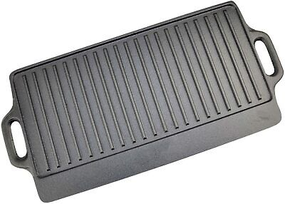 Cast Iron Griddle Tray Plate With Handles 42 Cm Large Grill Pan Tray BBQ  • 20.99£