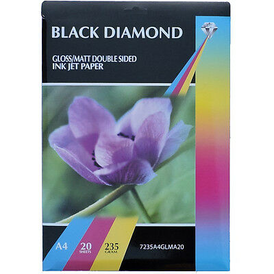 £7.47 • Buy Black Diamond Double Sided Gloss / Matte A4 Ink Jet Photo Paper 235gsm 20 Sheets