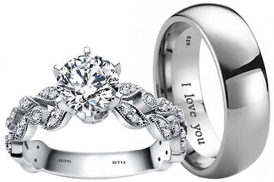 His And Hers Titanium/925 Sterling Silver Wedding Engagement Ring Band Set  • 32.99£
