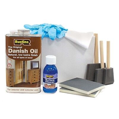 Rustins Solid Wood Worktop Kit Danish Oil Surface Cleaner Maintenance  • 26£