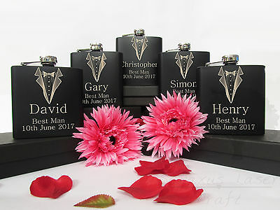 £8.99 • Buy 6oz Black Personalised Engraved Hip Flask.Wedding Groom Gift With Box Choice Bf5