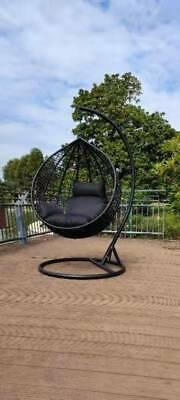 AU320 • Buy Brand New*Outdoor Swing Egg Trapeze Wicker Rattan Hanging Pod Basket Chair*Blk-L