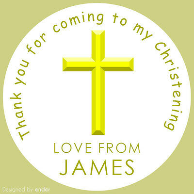 Personalised Yellow Cross Christening Stickers Labels Round Party Cone Sheet • 2.29£