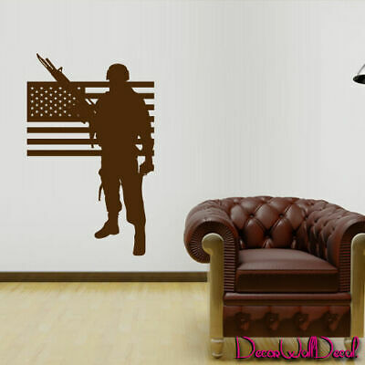 $28.99 • Buy Wall Decal Army Soldier Military Weapons American Flag Vest Room Nursery M1636