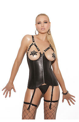 £67.97 • Buy Sexy Open Cup Leather Corset, Boning, Garter's...Reg & Plus Sizes Adult Woman