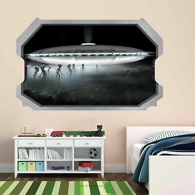Aliens Spaceship UFO Wall Art Stickers Mural Kids Bedroom Home Office Decor AY7 • 14.99£