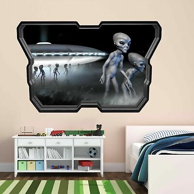 Aliens Spaceship UFO Wall Art Stickers Mural Kids Bedroom Home Office Decor AY8 • 22.99£