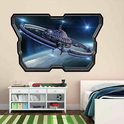 Futuristic Spaceship Wall Art Stickers Mural Kids Bedroom Home Office Decor AY11 • 14.99£