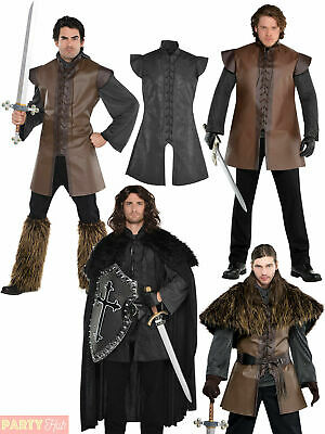 Mens Medieval Warrior Costumes Adults Viking Fancy Dress Tunic Cloak Cape Outfit • 15.35£