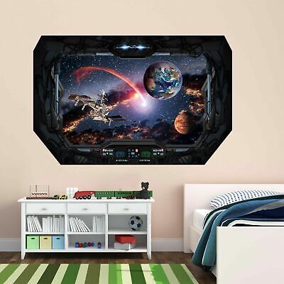 Satellite Planet Wall Sticker Mural Decal With 3D Spaceship Window Effect BD2 • 18.99£