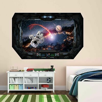 Astronaut Space Wall Sticker Mural Decal With 3D Spaceship Window Effect BD3 • 18.99£