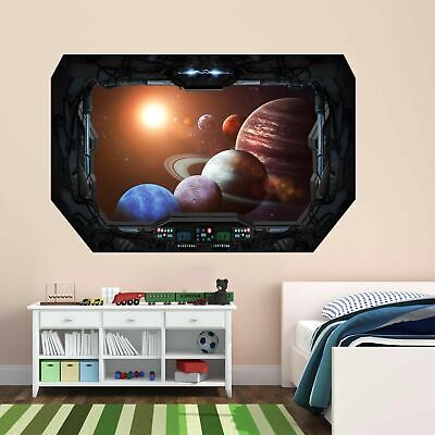 Space Planets Wall Art Sticker Mural Decal With 3D Spaceship Window Effect BD9 • 18.99£
