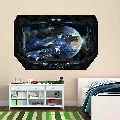 Futuristic Spaceship Space Earth Stars Wall Sticker Mural Wallpaper Poster BD11 • 14.99£