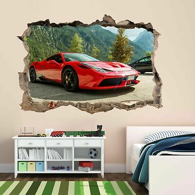 Red Super Sports Car Wall Sticker Mural Decal Kids Bedroom Office Decor BD50 • 22.99£