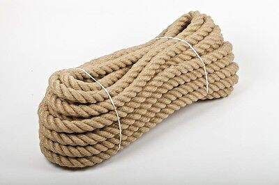 £16.55 • Buy 20mm Natural Jute Hessian Rope Cord Braided Twisted Boating Sash Garden Decking