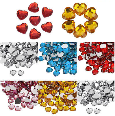 Heart Craft Gem Stickers Self Adhesive Flat Back Embellishment Phone Rhinestones • 2.49£
