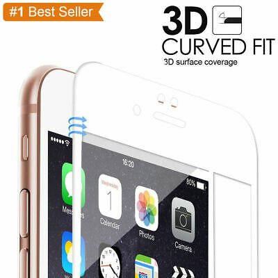 White Full Cover Tempered Glass 3D Curved Screen Protector For IPhone 7/8 Plus • 1.99£