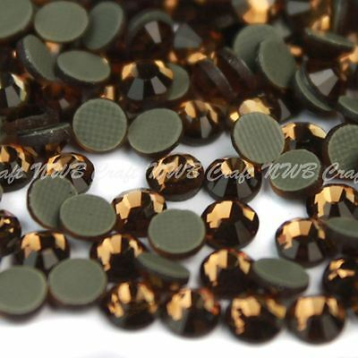 Golden Brown Hotfix Iron On Glass Rhinestones Flat Back Crystals Diamante Gems • 1.99£