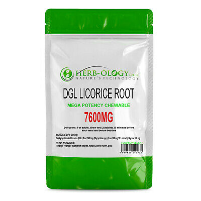 DGL Licorice Root 7600mg Mega Potency Chewable X 30 - 60 Tablets Herb-ology • 5.49£