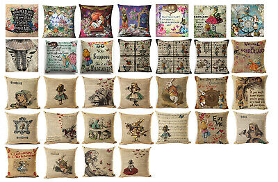 ALICE IN WONDERLAND DESIGNS!!! Linen Cushion Covers Great Xmas Gift UK Seller! • 9£