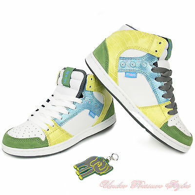 £27.47 • Buy Ladies Shoes Etnies Trainers Perry Mid Skate White Green Yellow Leather New
