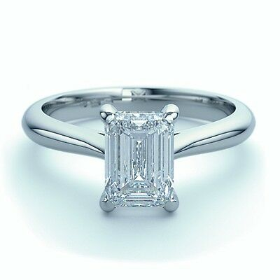 0.50 Ct Emerald Cut Diamond Solitaire Engagement Ring, 18k White Gold • 1,500£
