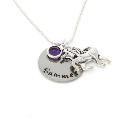 £9.99 • Buy Childs Personalised Name Necklace With Unicorn And Birthstone - Gift Boxed