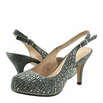 Women's Shoes Blossom Roma 14X Crystal Slingback Wedding Heels Pewter Shimmer  • 23.89£