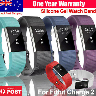 AU4.59 • Buy Replacement Silicone Rubber Band Strap Wristband Bracelet For Fitbit CHARGE 2