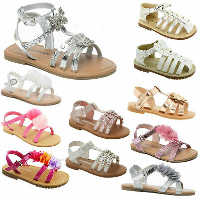Girls Summer Sandals Childrens Toddlers Casual Flat Beach Holiday Flip Flop Shoe • 9.99£