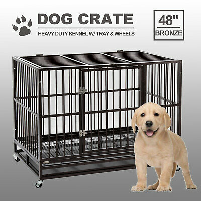 $192.99 • Buy 48  Dog Crate Large Kennel Cage Heavy Duty Metal Pet Playpen W/Wheels & Tray