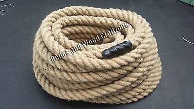 28mm 100% Natural Jute Rope 3 Strand Twisted Decking Cord Garden Boating Camping • 5.59£