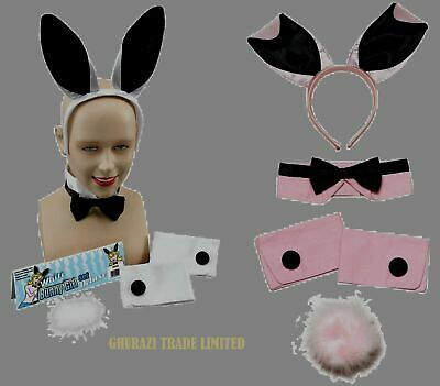 £6.99 • Buy Bunny Girl Rabbit White And Pink Ears Hen Party Set Fancy Dress Accessory