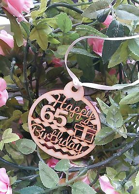 Happy 65th Birthday Wooden Gift Tag • 2.70£