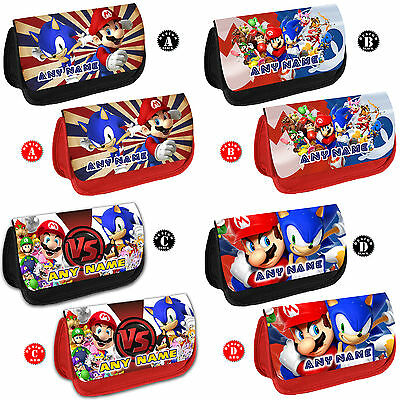 MARIO AND SONIC Personalised Pencil Case Any Name Kids School Gift Make Up Bag • 8.95£
