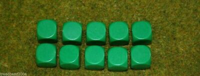 10 X 16mm BLANK SIX SIDED DICE GREEN Wargames Dice Or Casualty Markers • 2.99£