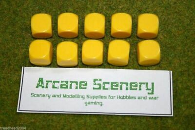 10 X 16mm BLANK SIX SIDED DICE YELLOW Wargames Dice Or Casualty Markers • 2.99£