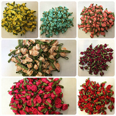 £1.99 • Buy Satin Small Ribbon Roses Buds Embellishments  28 Colours Various Quantities