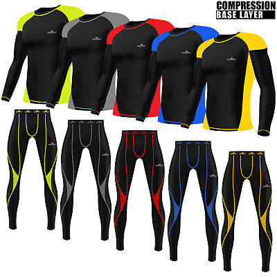 Mens Compression Tights+Top Armour Base Layer Gym  Build Trousers Under Full SET • 19.99£