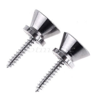 $ CDN7.84 • Buy 2 Pcs Guitar Strap Locks Buttons End Pins For Electric Acoustic Guitar Chrome