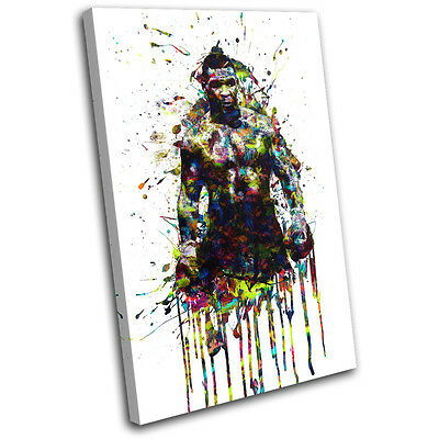 Mike Tyson Boxing Colourful Sports SINGLE CANVAS WALL ART Picture Print • 15.99£
