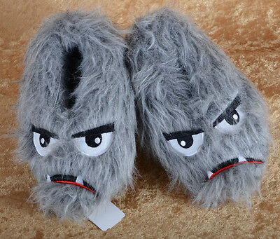 £14.62 • Buy Boy's Bear Monster Face Feet Faux Fur Furry Gray Small Med S M 13 1 Slippers NEW