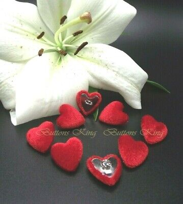 £3.60 • Buy Set 8 Velvet Fabric Covered Buttons Red Heart  Metal Loop Shank Size 22mm.