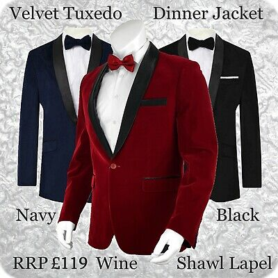 $ CDN106.11 • Buy Mens Velvet Tuxedo Dinner Jacket Blazer Bordeaux Wine Maroon Shawl Lapel Party