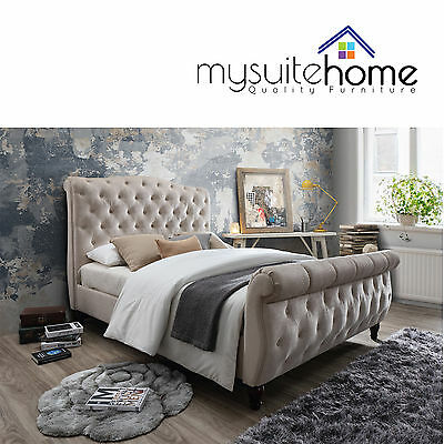 AU599 • Buy Jasmine Chesterfield Design Fabric Double/Queen/King Size Bed Frame