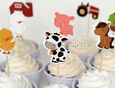 AU4.95 • Buy 12 Farm Themed Cupcake Party Picks....Animals Barn Tractor...Cupcake Topper
