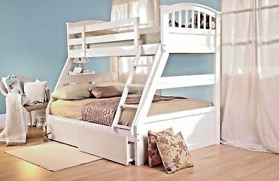 £519.99 • Buy Lavish Sweet Dreams Epsom Solid Wooden Triple Bunk Bed In White And Oak Finish