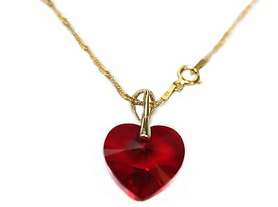 Ah! Jewellery® 18mm Elegant Siam Heart Gold Genuine Crystal From Swarovski®  • 15.99£