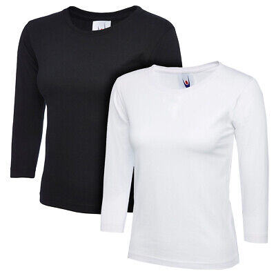 Ladies Womens 3/4 Sleeve T-Shirt Top Plain Tee Casual Formal 1 Or 2 Pack Cotton • 4.99£